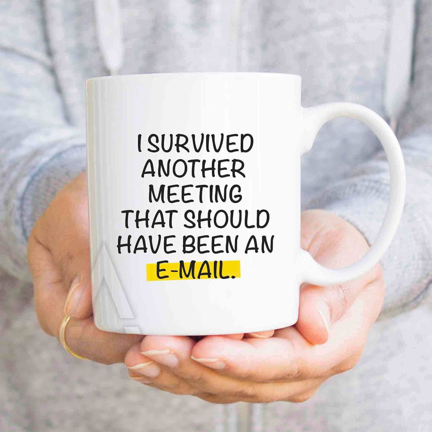 Gifts for coworkers I survived another meeting, funny coffee cup, boss gifts, cubicle decor, women gifts, colleague gift ideas cheap MU476 #christmasgiftsforcoworkers Gifts for coworkers I survived another meeting, funny coffee cup, boss gifts, cubicle decor, women gifts, colleague gift ideas cheap MU476 by artRuss on Etsy #wichtelgeschenkideenkollegen
