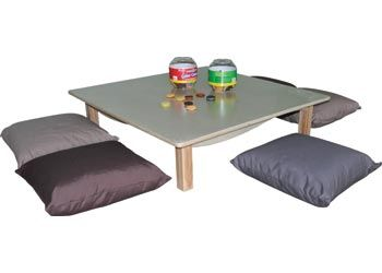 Stockholm 100 cm Low Square Table and 6 Cushions