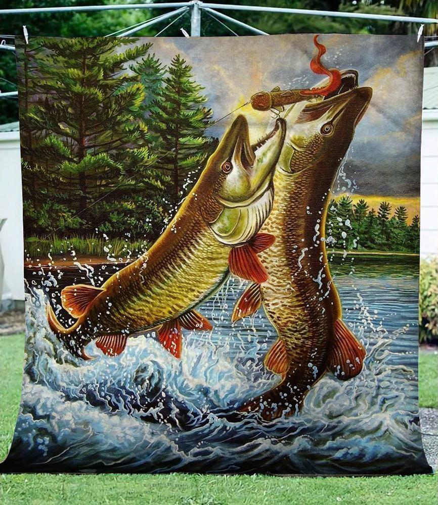 Muskie Cl04120528mdf Sherpa Fleece Blanket In 2021 Fly Fishing Art Fish Artwork Fish Drawings