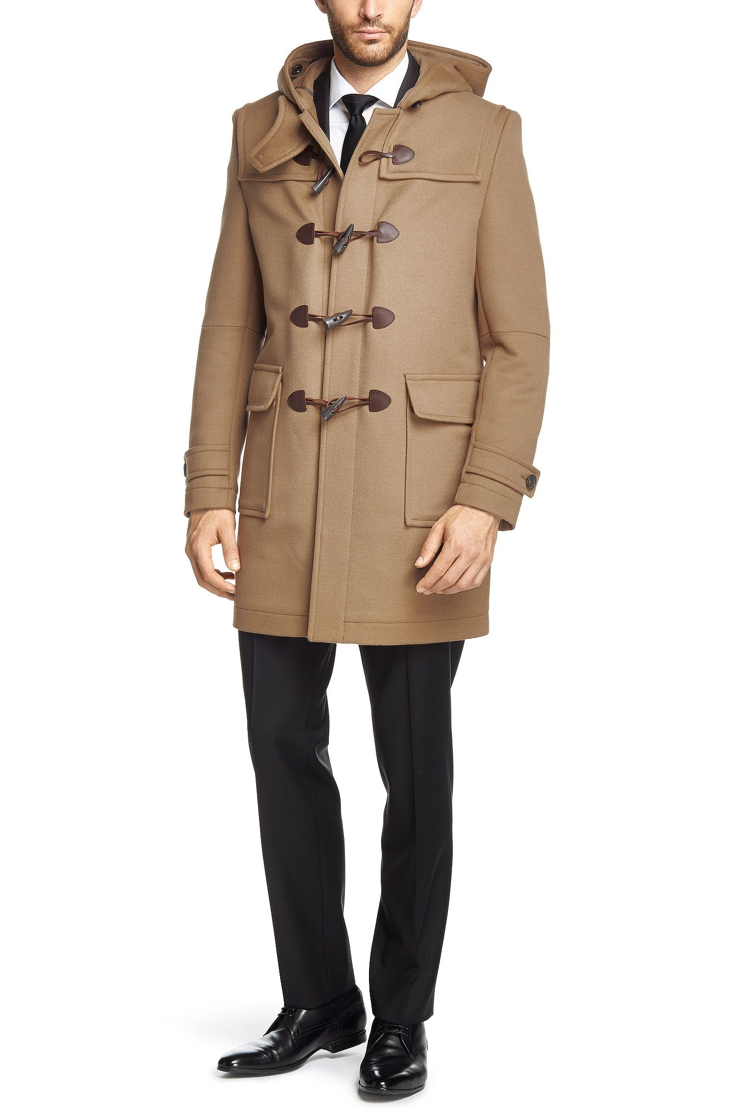 Duffle-coat Homme Hugo Boss, achat BOSS Duffle-coat uni Devon en poil de  chameau mélangé prix promo Hugo Boss 895.00 € TTC 64486855cbf7