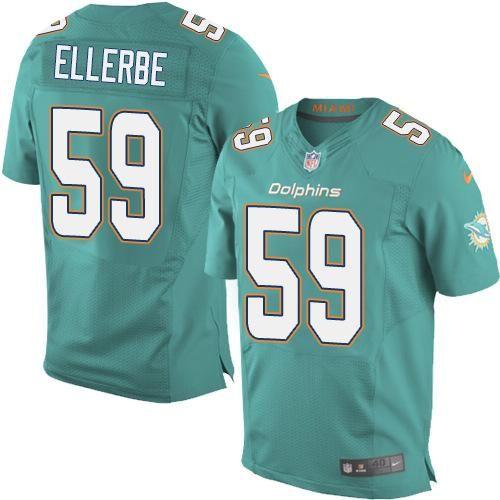 Wholesale Nike Dolphins #59 Dannell Ellerbe Aqua Green Team Color Men's