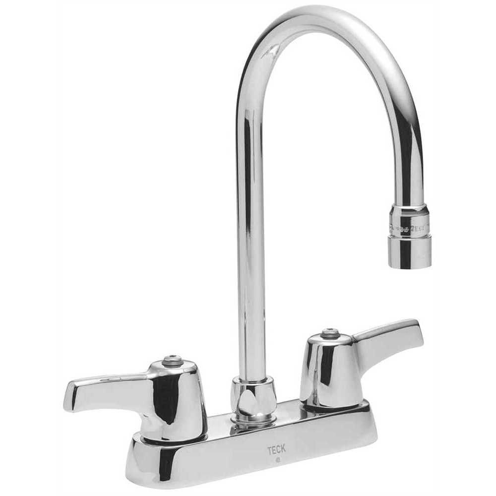 Lead Free Deck Mounted Kitchen Faucet With Gooseneck Spout And Lever Handles 4 Inch Center Polished Chrome Faucet Polished Chrome Chrome