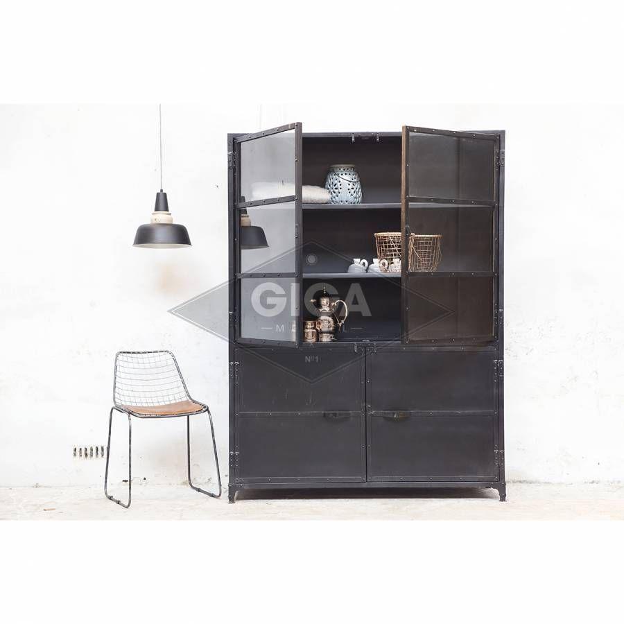 vitrinekast marcia industrieel zwart - ideeën voor het huis, Deco ideeën