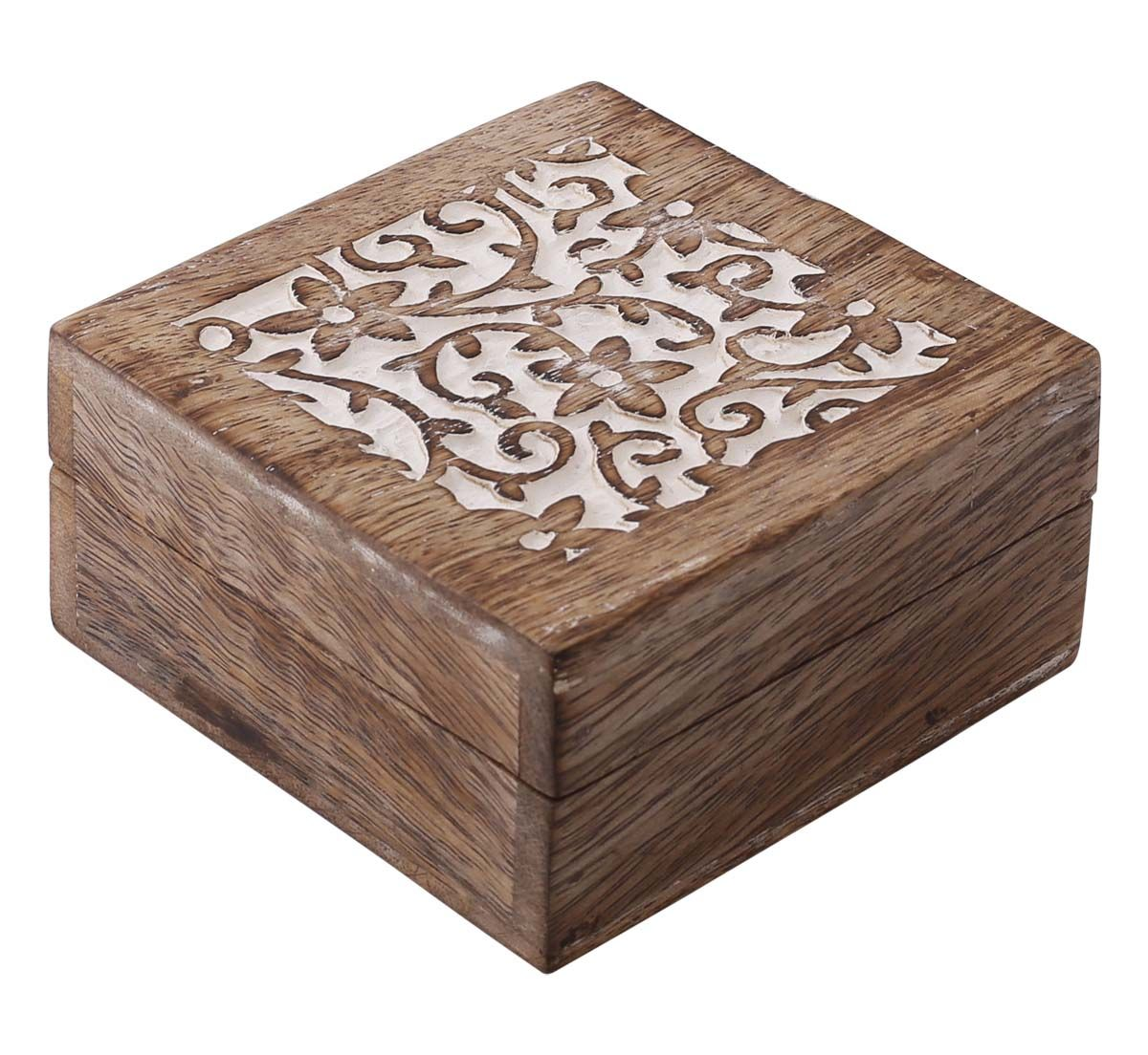 Bulk Wholesale Hand Carved Set Of 3 Mango Wood Square Jewelry Boxes Trinket Boxes In Brown White Wood Jewelry Box Hand Carved Jewelry Handmade Jewelry Box