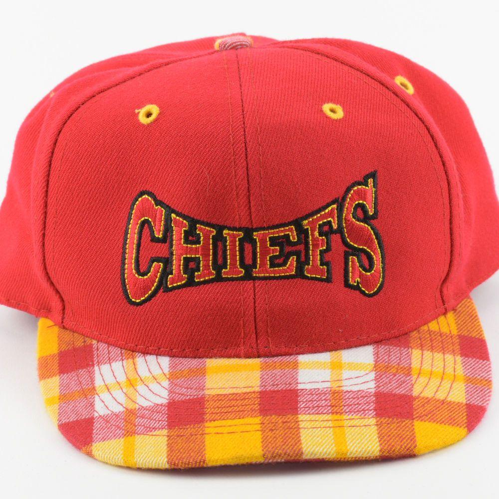 1f025f41063d1 Vintage Plaid Snapback Hat Cap Kansas City Chiefs NFL Yellow Red Football  Bill  itisvintage