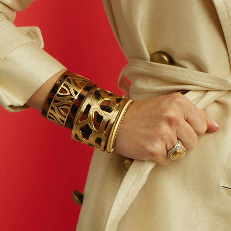 c6bf9d67814f We ve stacked our Christo Nairobi Cuff with the luxe leopard leather insert  with the Moscow Narrow Cuff worn on top of a larger leather.