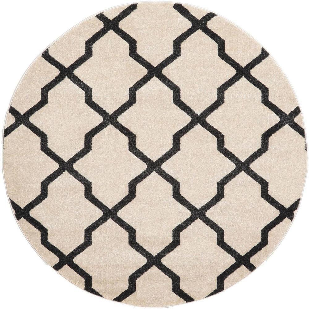 Unique Loom Trellis Beige 6 Ft X 6 Ft Round Area Rug Area Rugs