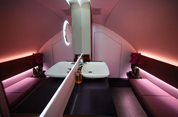Qatar Airways Reveals Additional Glimpse Of Its Customised A380 800 First And Business Class Lounge And Bathroom Interiors Qatar Airways Business Class Seats Business Class Lounge