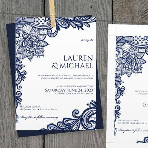DiY Wedding Invitation Template EDITABLE TEXT Ornate Lace Navy - Wedding invitation templates: editable wedding invitation templates