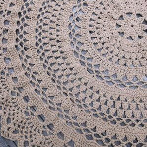 Custom Made Large Round Crochet Cotton Doily Rug In Circle Lacy Pattern Non  Skid