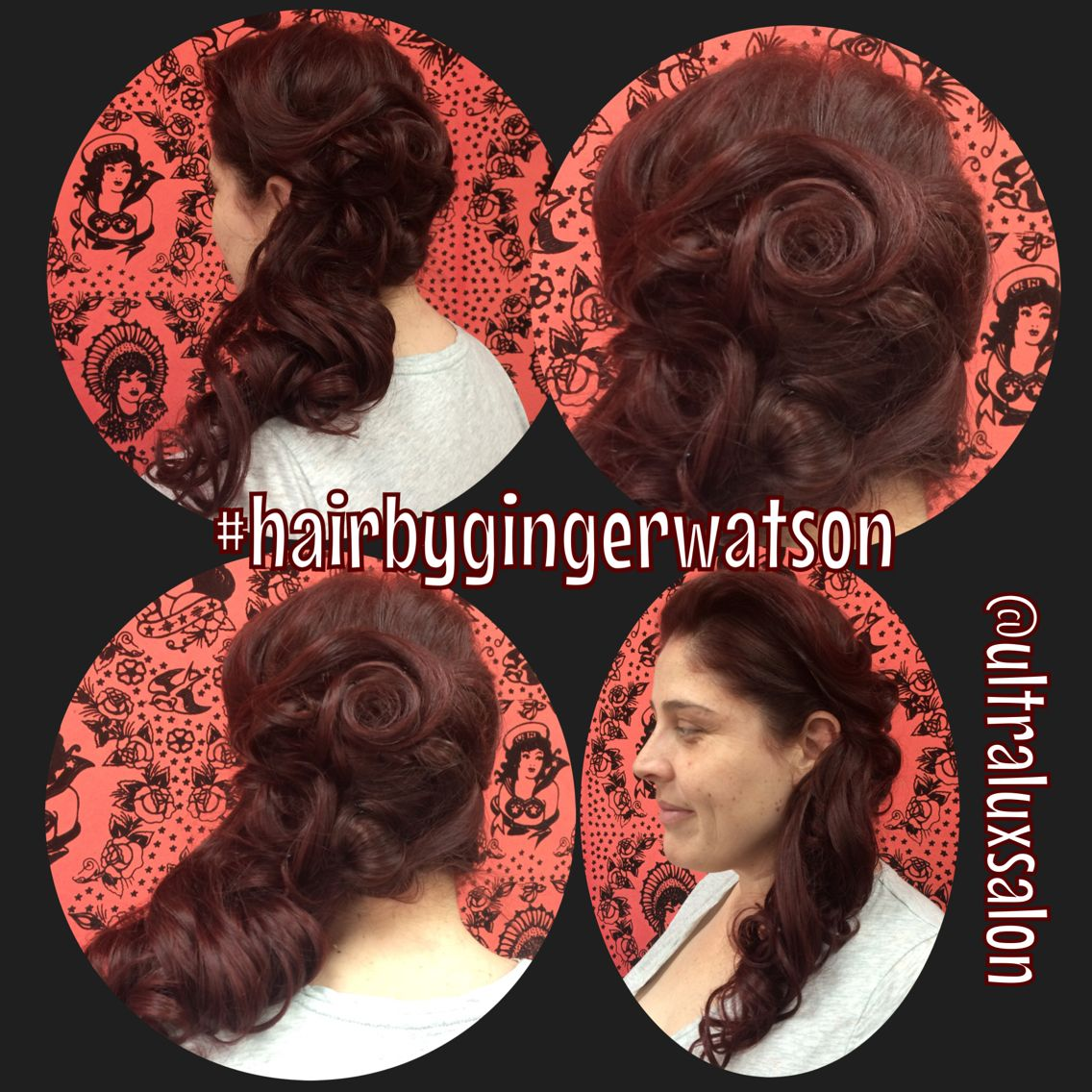 #vintagehair #vintagehairsalon #avedacolor #redombre #pinup #pinuphair #50s #weddinghair