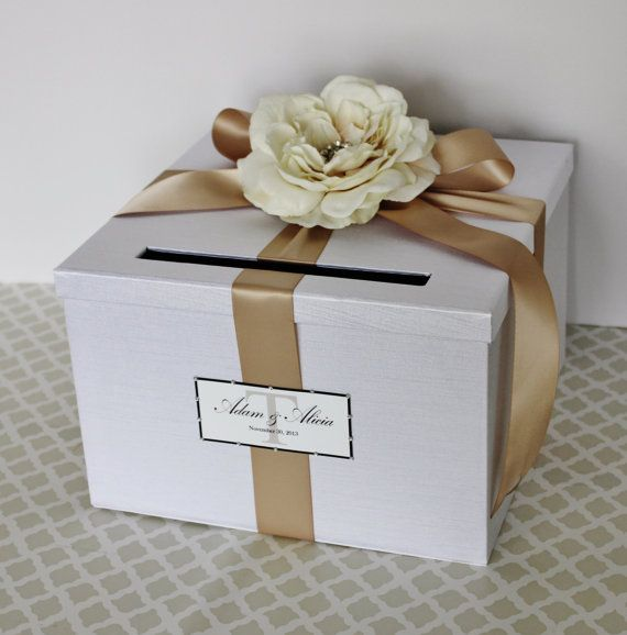 Wedding Card Box White Champagne Gold Money Holder Customizable ...