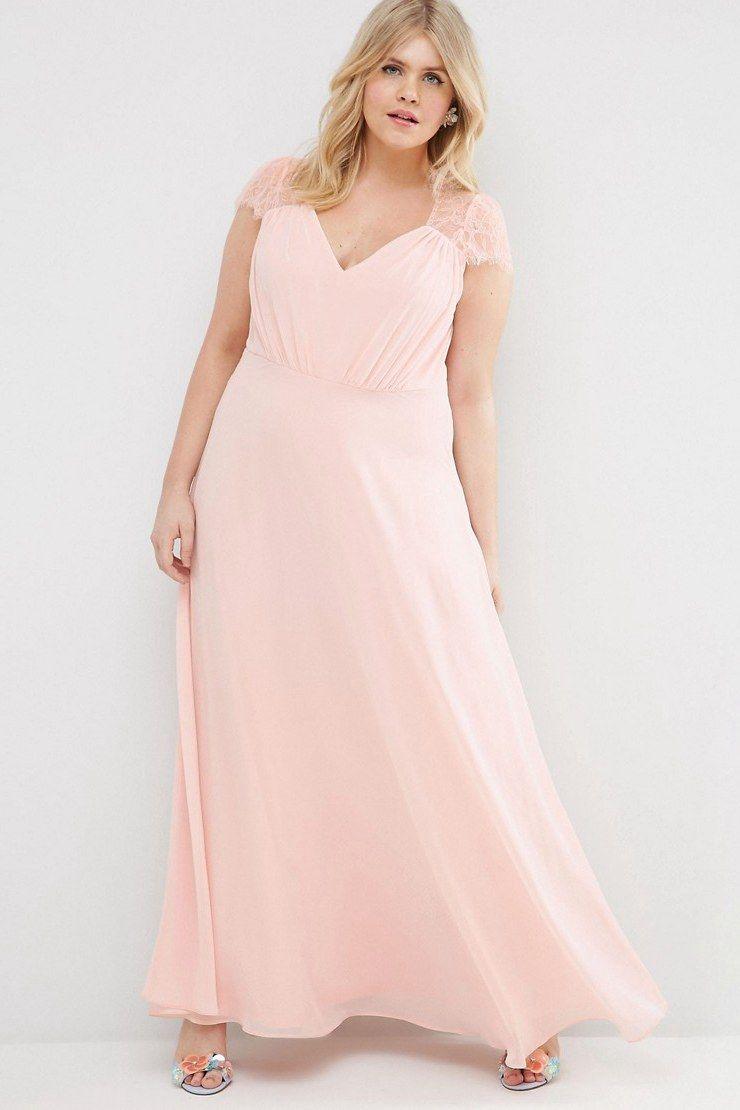 21ef3dce16cd  110.79 –Lace Cap Sleeve Chiffon Plus Size Bridesmaid Dress. Shop for long  dresses
