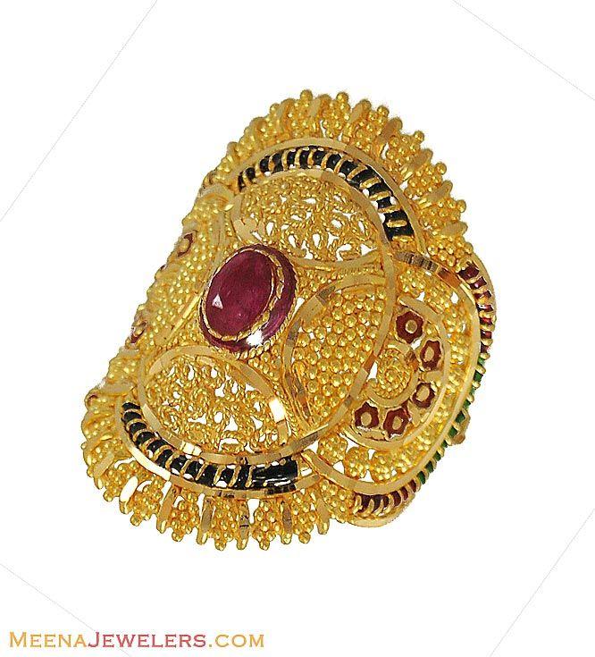 Indian Bridal Ring 22K Gold RiLg9020 Filigree