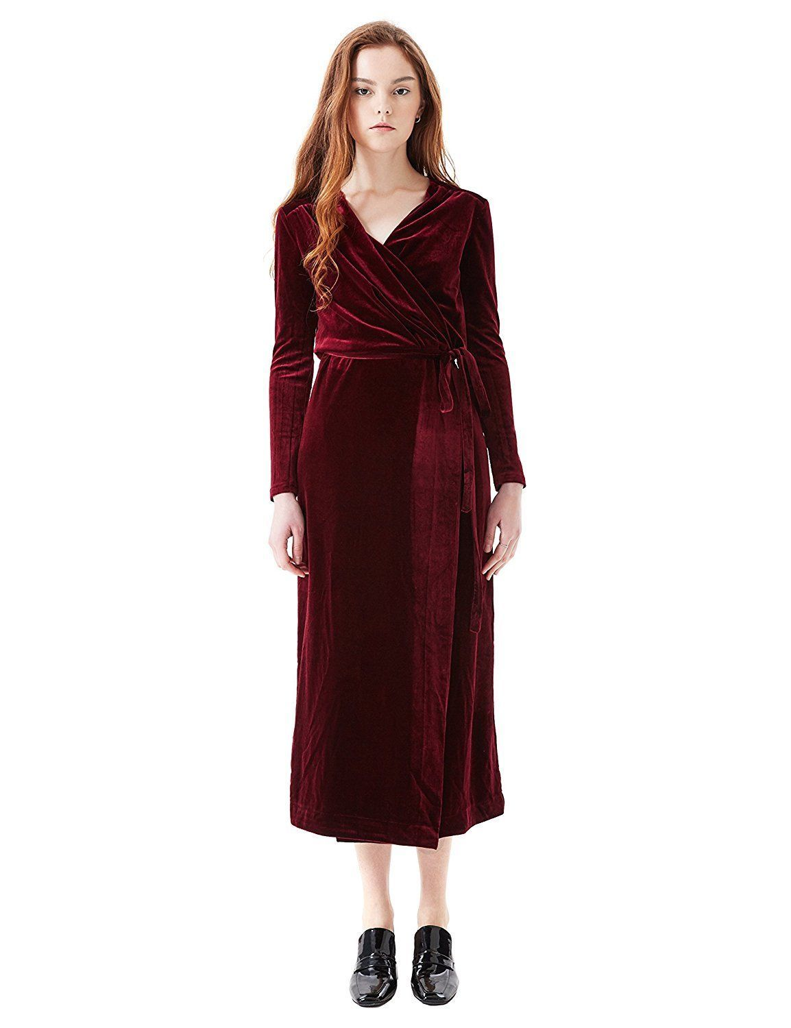 Cool awesome simple retro womenus maxi dress velvet belted vneck