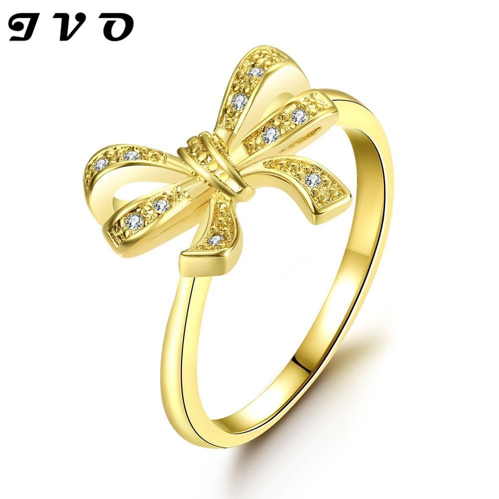 cute bow design gold color finger ring with Zircon fashion jewelry ...