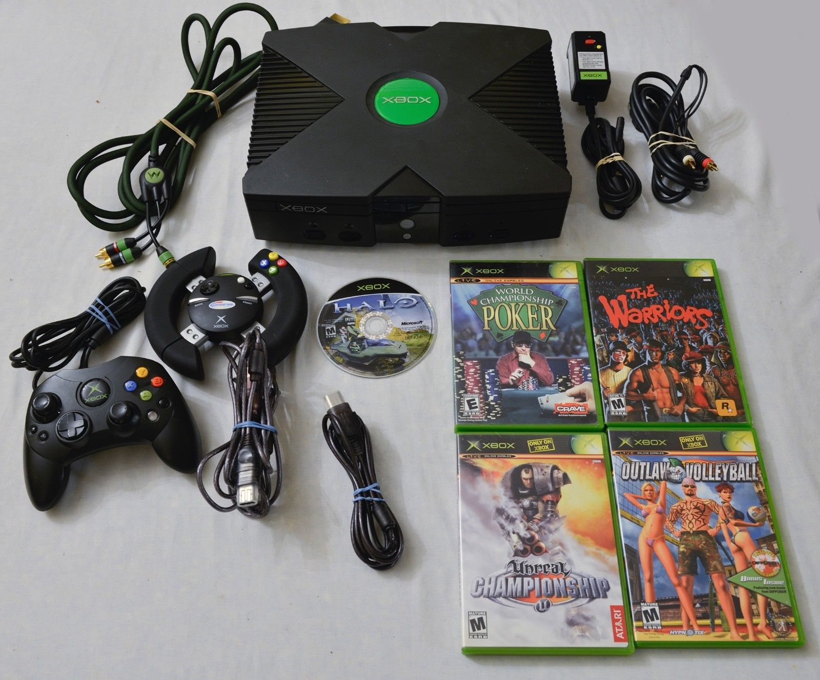 original xbox system bundle 5 games halo the warriors monster cable ...