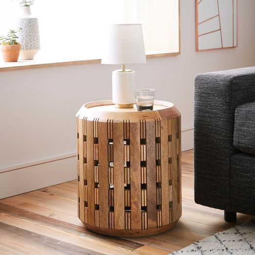 Wood Drum Side Table Tv Area In Basement Pierced Wood Drum Side Table West  Elm 現代 . Wood Drum Side Table ...