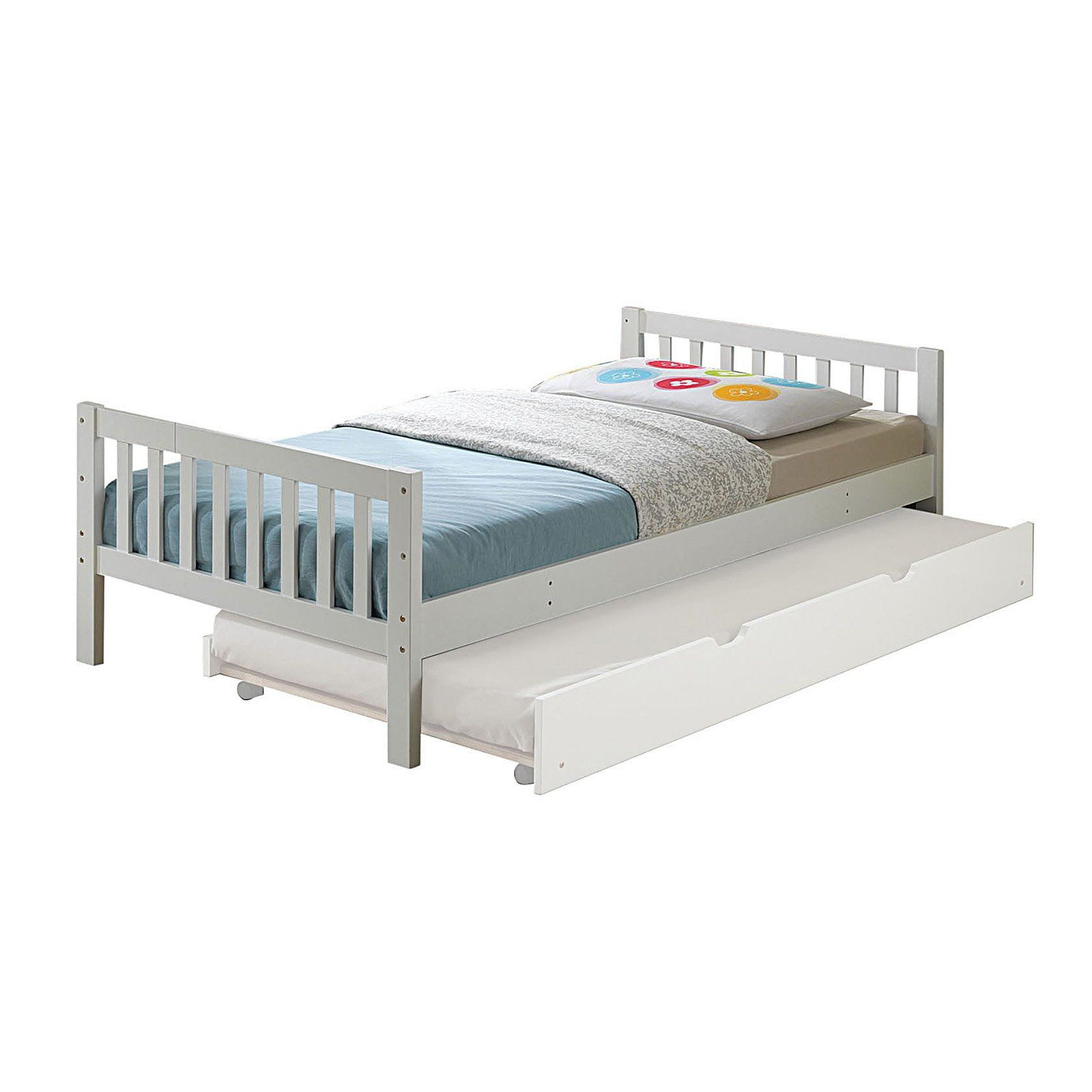 Acme Furniture Cutie Platform Bed in White Twin trundle
