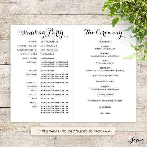 byron printable wedding order of service template in 2018 my