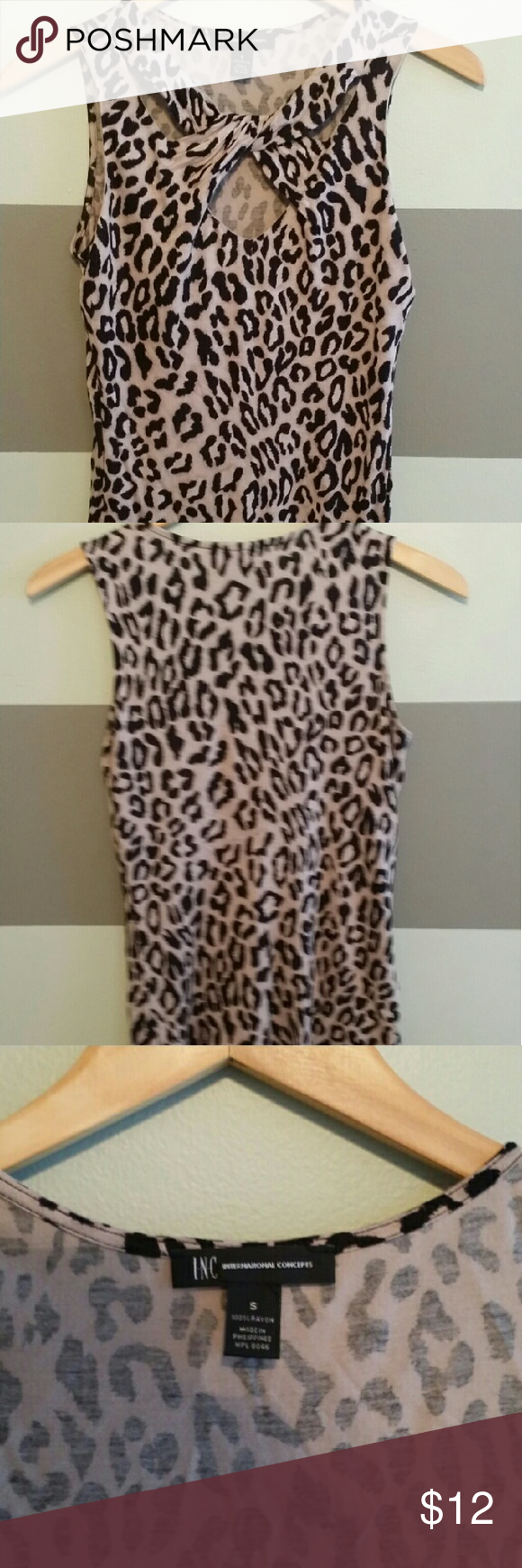 Leopard peint top Smooth soft feel sleeveless top INC International Concepts Tops