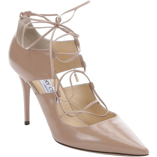 Jimmy Choo Ballet Pink Leather 'hoops' Lace-Up Pumps (376756301) (€675) ❤ liked on Polyvore featuring shoes, pumps, jimmy choo shoes, high heel pumps, stiletto pumps, ballet pumps and pointed toe high heel pumps