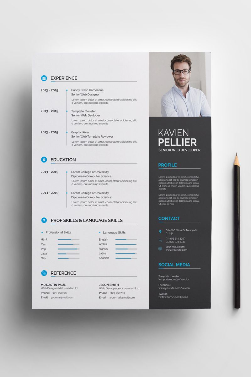 Kavin Graphics Designer Resume Template Graphics Kavin Designer Template Resum Creative Resume Template Layout Graphic Design Resume Web Developer Resume