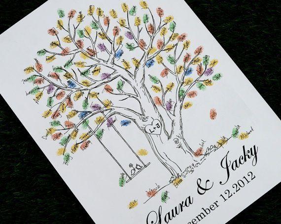 Print Of Hand Drawn Fingerprint Wedding Tree Thumb Guest Book Alternative
