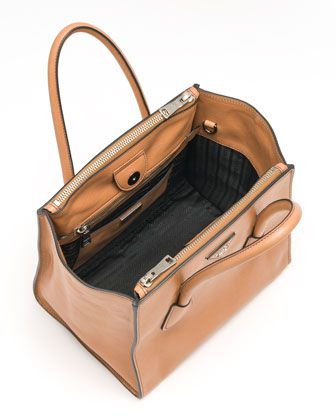 e7d8dee3079111 Prada Glace Calf Small Twin Pocket Tote Bag, Natural - Neiman Marcus