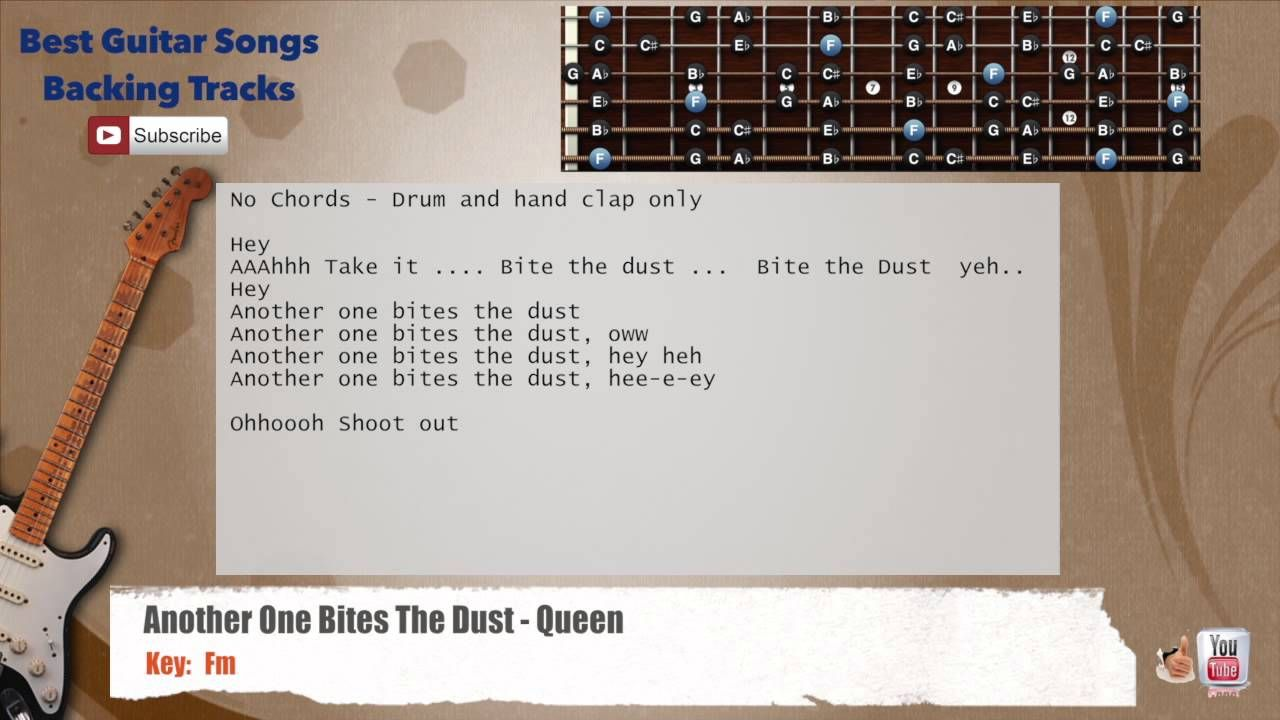 Another One Bites The Dust Queen Guitar Backing Track With Scale