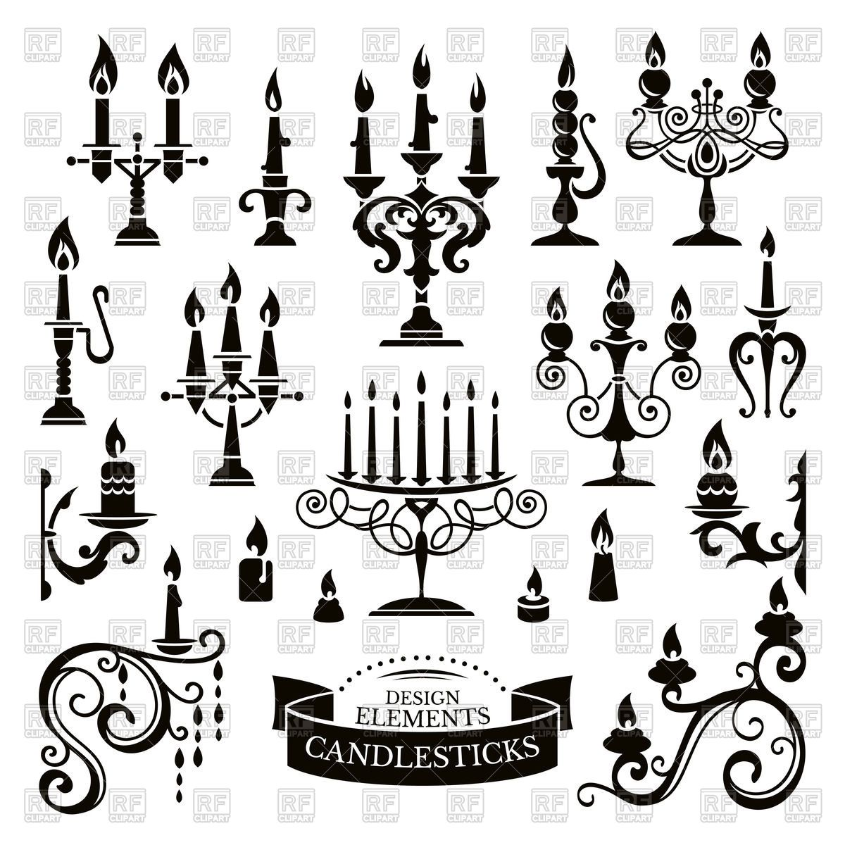 Silhouettes Of Candlesticks And Candles Vector Image
