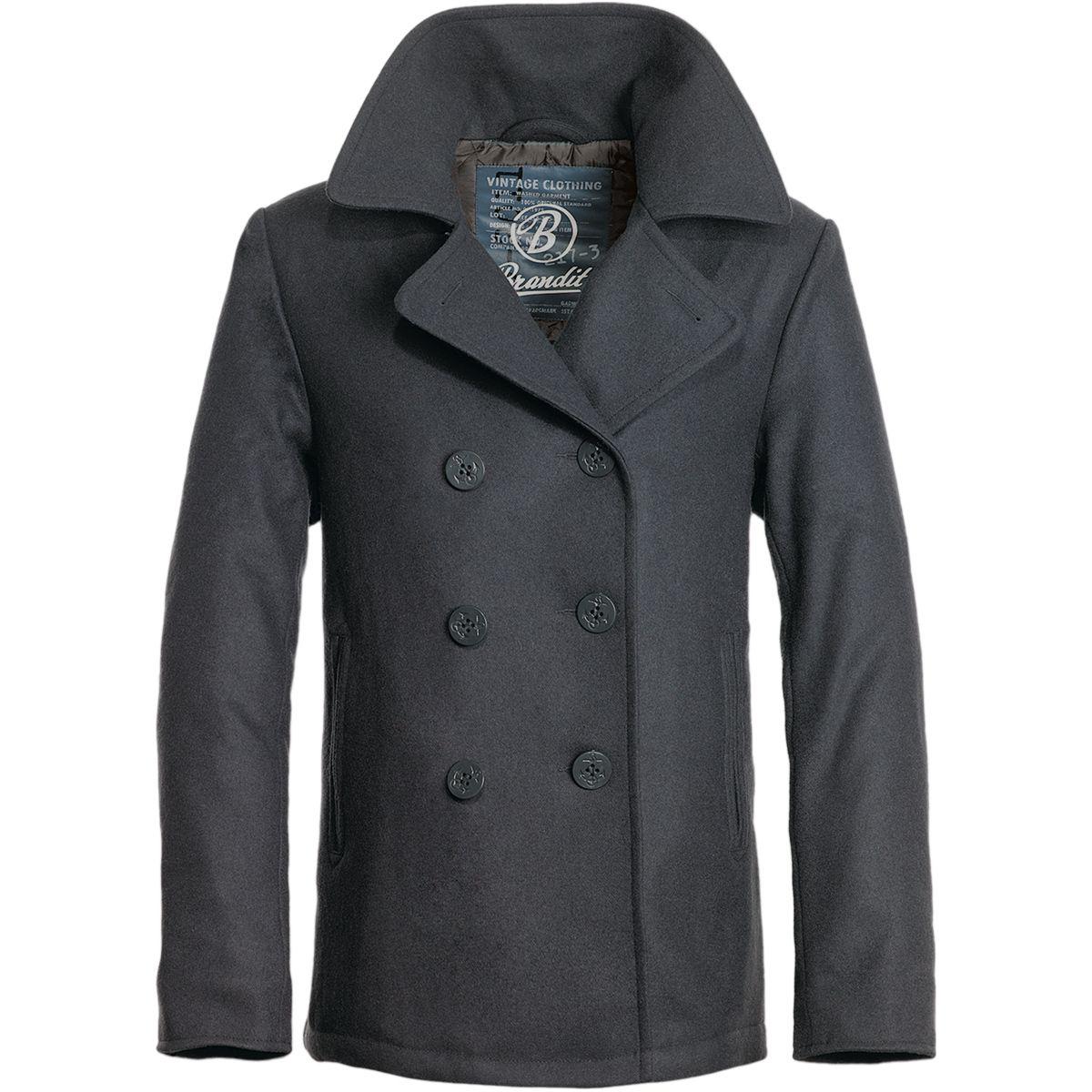 Brandit classic navy pea coat warm mens wool reefer travel jacket ...