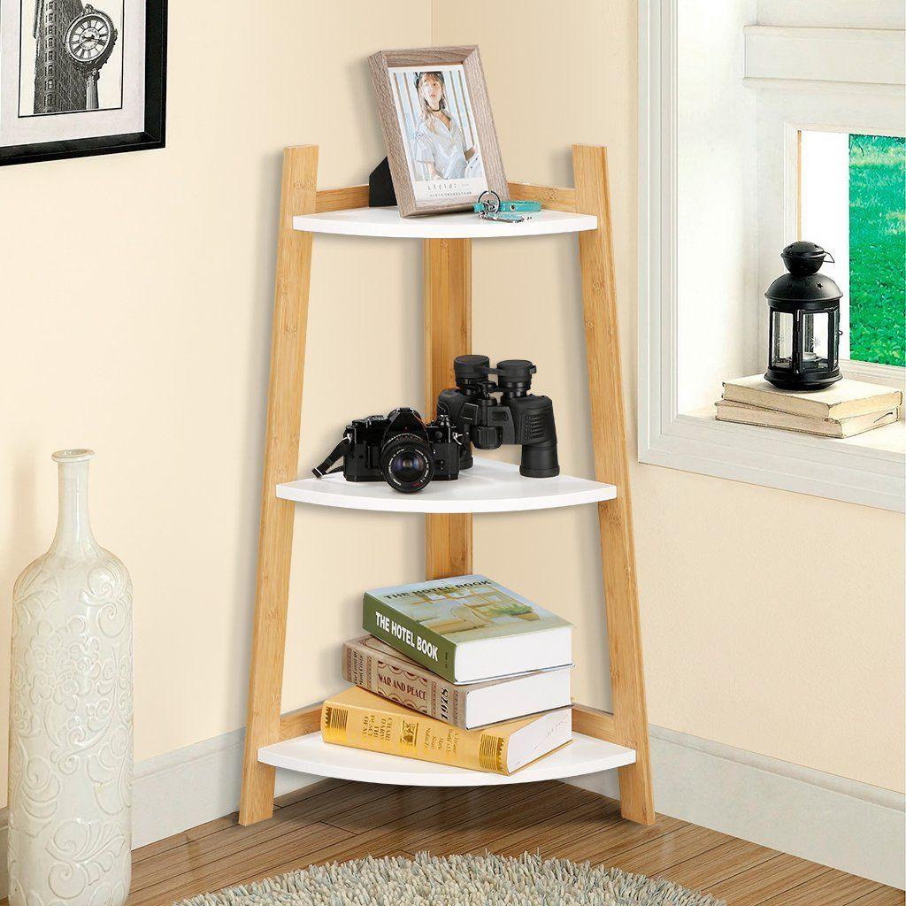 amazon langria 3tier corner bamboo bookcase