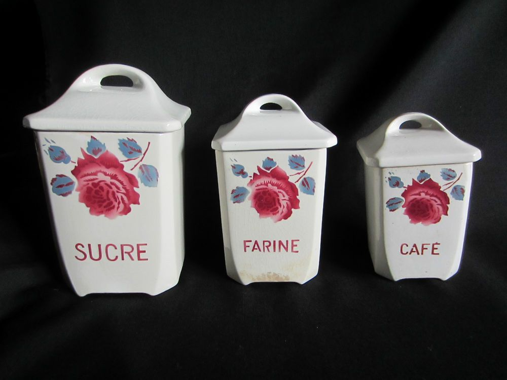 3 anciens pot pices badonviller service monique d cor fleurs roses digoin badonviller. Black Bedroom Furniture Sets. Home Design Ideas