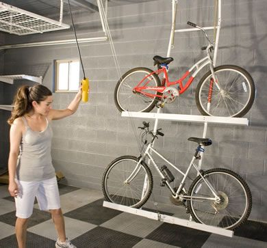 Motorized Bike Lift For Two Bikes For Easy Storage The