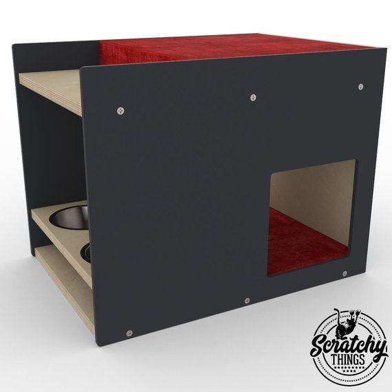 Boxy BnB, Cat Feeder and bed, Cat feeder, Cat box, Cat house, Pet furniture, Cat playground, Cat gift, Cat retreat, Cat loft, Small dog bed