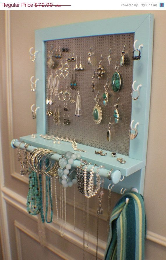 Beautiful Turquoise Wall Mounted Jewelry Organizer with a Bracelet