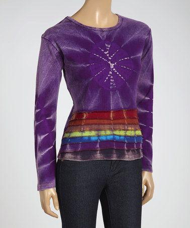 Look what I found on #zulily! Purple Stripe Tie-Dye Scoop Neck Top #zulilyfinds