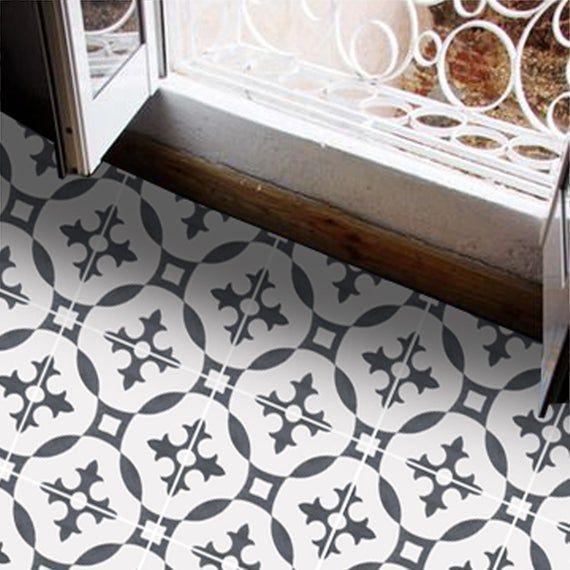 Tile Decals Tiles For Kitchen Bathroom Back Splash Floor Decals Moroccan Encaustic Stella Vinyl Tile Sticker Pack In Charcoal Tile Decals Flooring Floor Decal