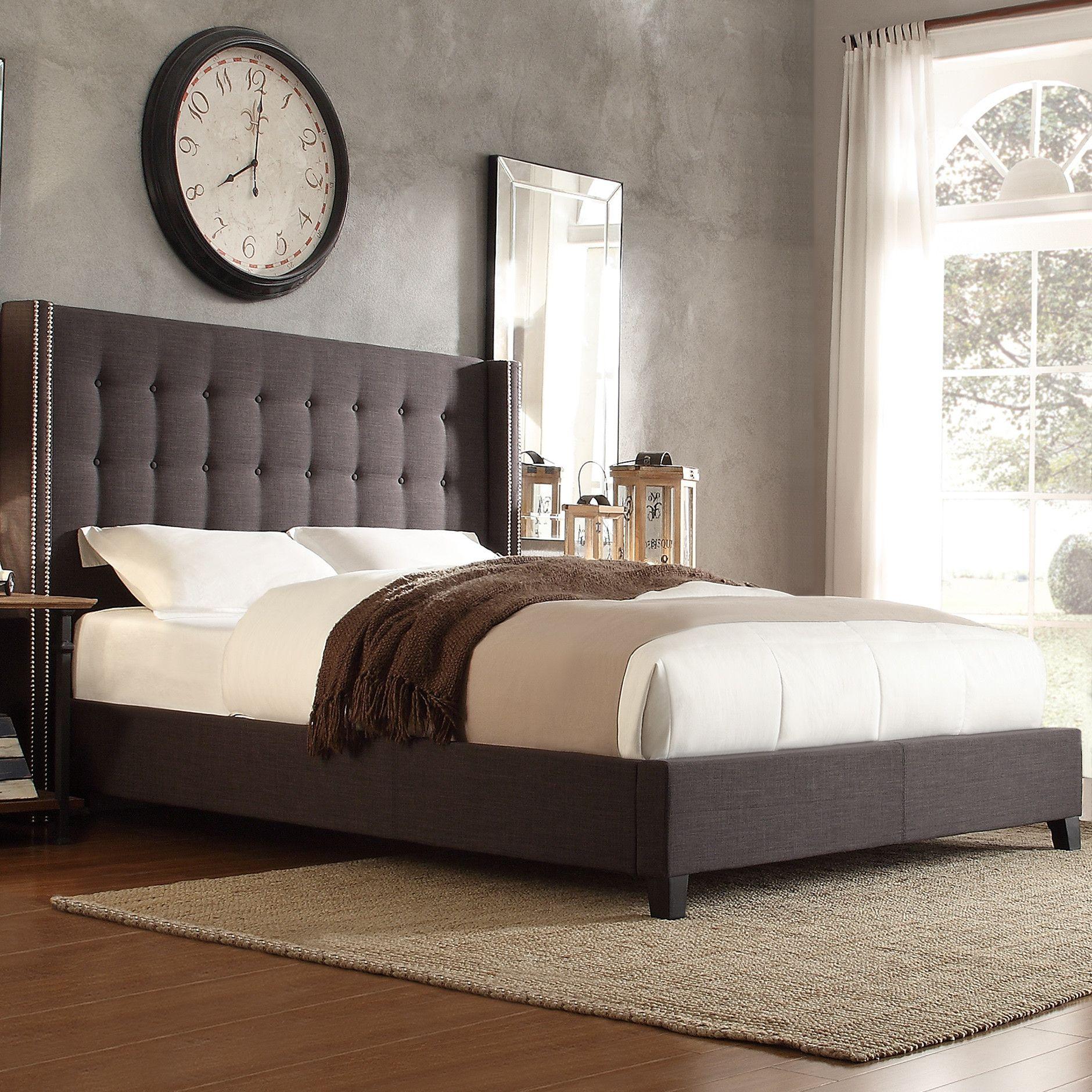 Kingstown Home Mackenna Linen Upholstered Wingback Bed