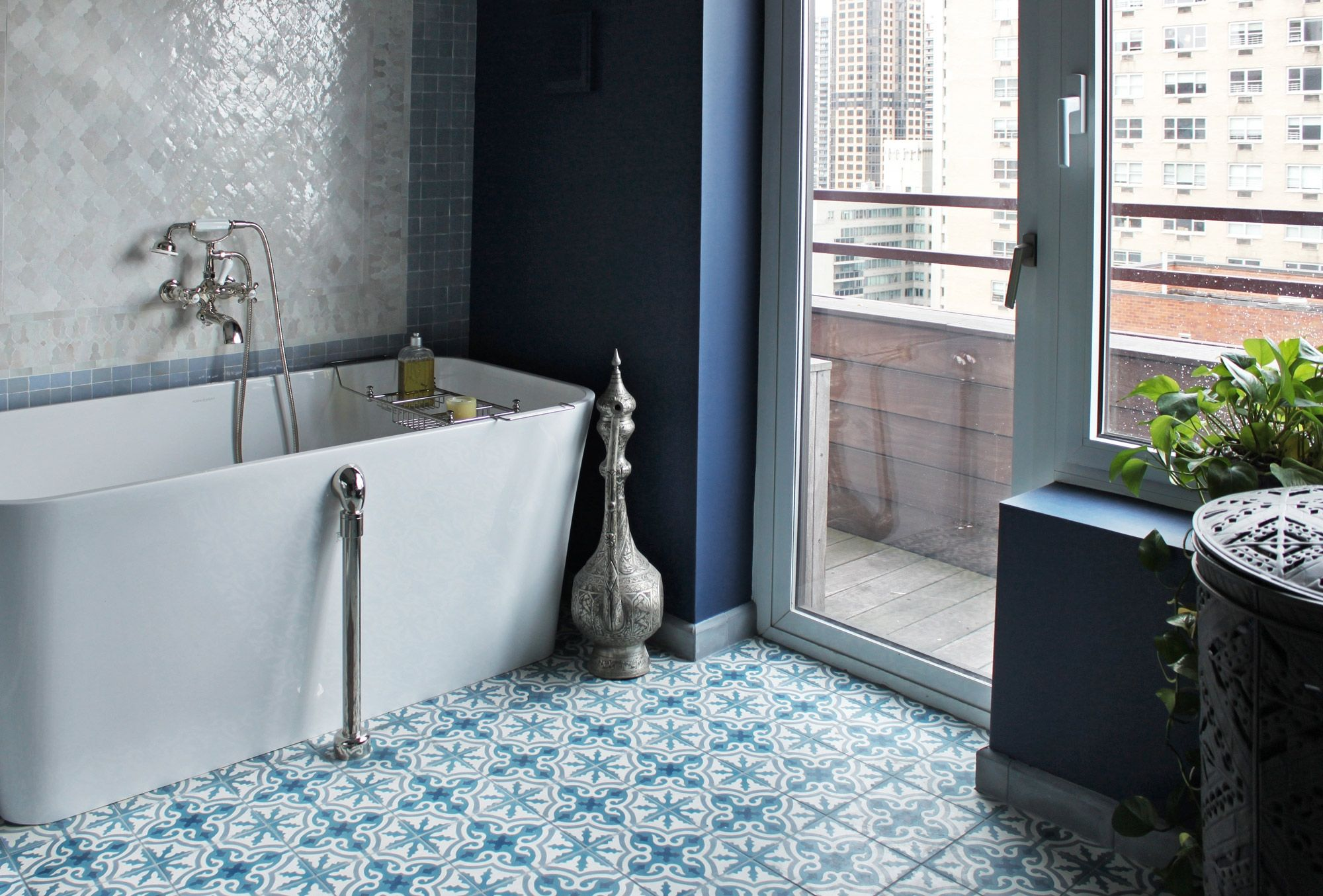 Blue And White Patterned Floor Tiles | http://nextsoft21.com | Pinterest