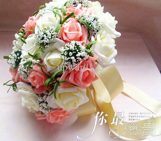 Perfect Wedding Favors Bouquet Sweetheart Roses Silk Flower Bride Holding Flowers Fb0004 Common From