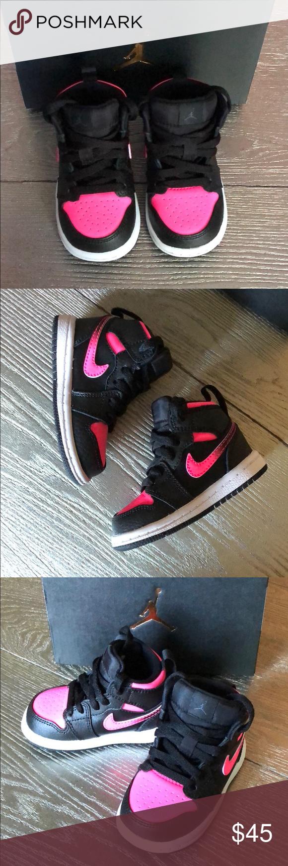 Baby Girl Jordan 1 Retro High Top 4c Black/Pink Black and