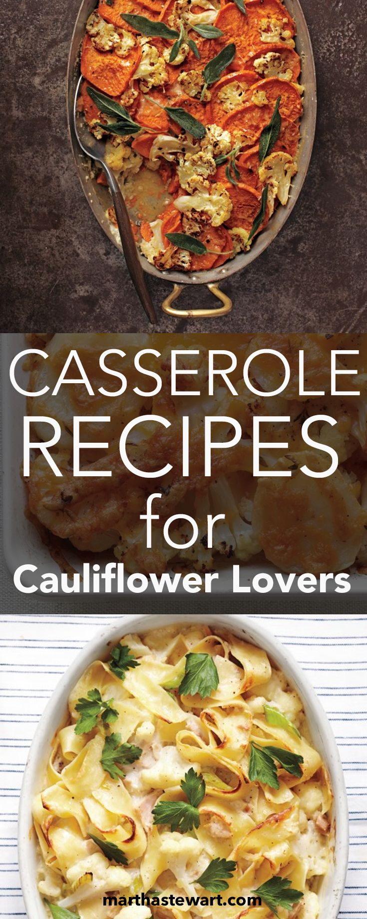 Reliable Mr. Cauliflower is one of our favorite vegetables. He's good looking (those florets!), versatile, cooks quickly, and we fans say nothing compares to that nutty, rich taste. And when it comes to casseroles, cauliflower reigns supreme. Whether it's made with cheese, sweet potatoes, or even chestnuts, this faithful brassica always makes comfort food more cozy.