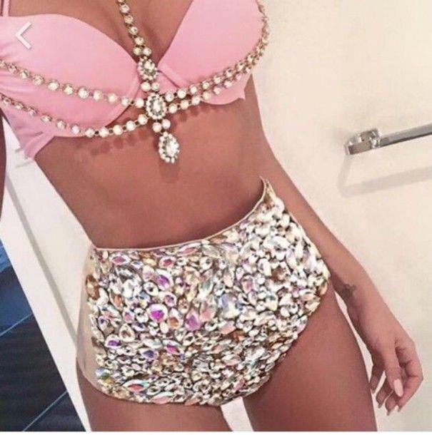 1bd4f8648c swimwear pink pastel high waisted bikini bling gemstone bathing suit top bathing  suit bottoms
