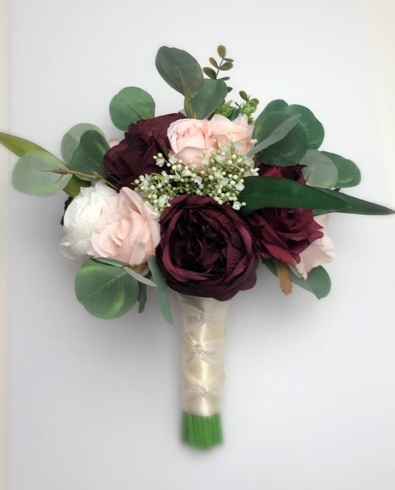 Wedding Bouquets, Bridal Bridesmaids Bouquets, Winter Wedding Bouquet, Burgundy Blush Pink Rose Bouquet, Boho Bouquet, Peonies, Eucalyptus #pinkbridalbouquets