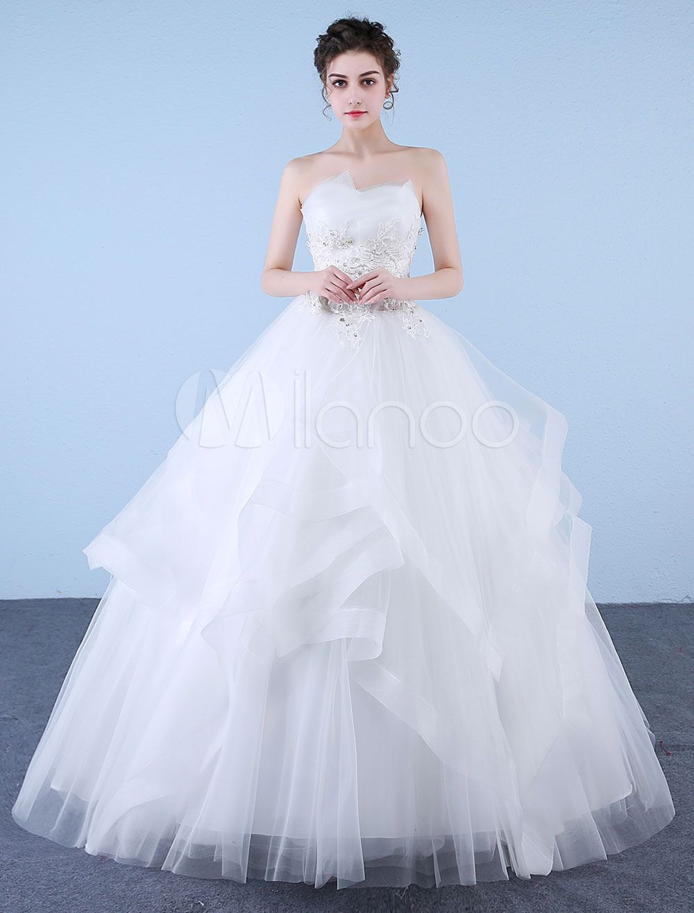Princess Ball Gown Wedding Dresses Strapless Ivory Lace