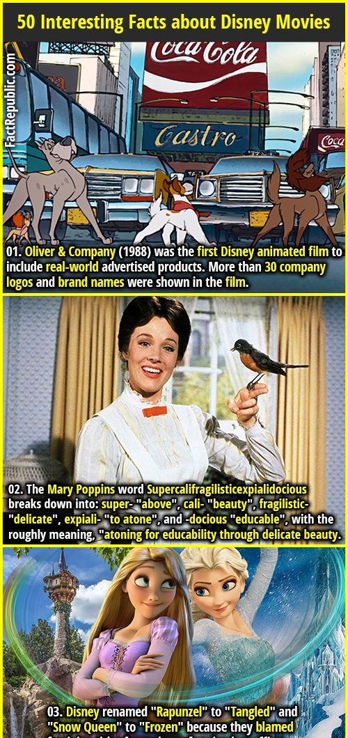 1. Oliver & Company (1988) was the first Disney animated film to include real-world advertised products. More than 30 company logos and brand names were shown in the film. #oliverandcompany #marypoppins #disney #movies #frozen #tangled #factrepublic #wtffact #knowledge