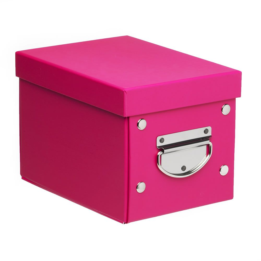 Wilko Storage Box Folding Pink 22cmx16cmx15cm At