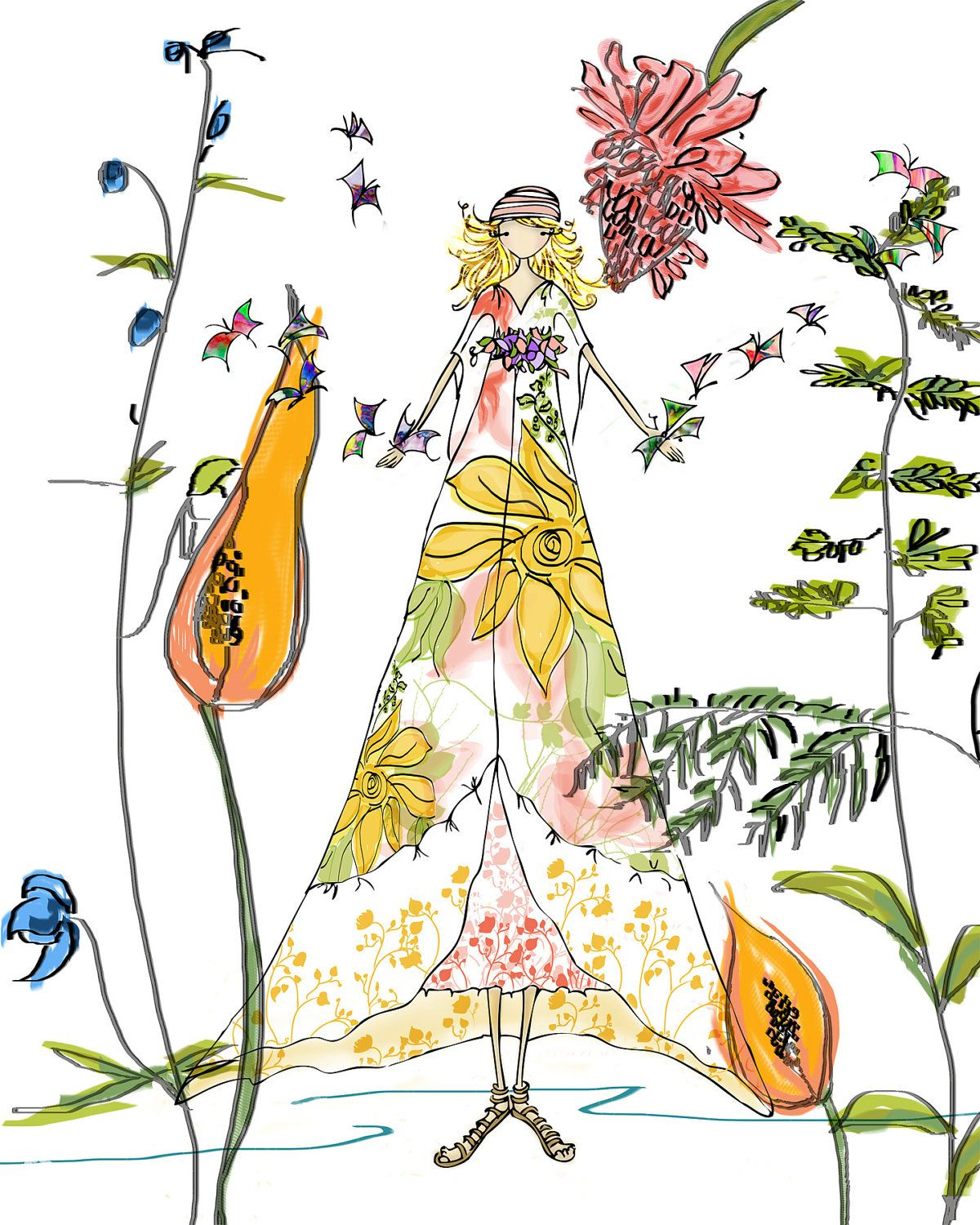 Illustration Wall Art Girl with Floral Dress and by christahoward ...